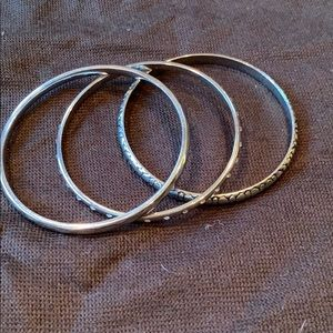 Set of three stackable silver bangles